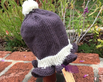 Hand Knit Baby Girl Ruffles Beanie Hat Smoky Lavender and Ivory 6-12 mos.