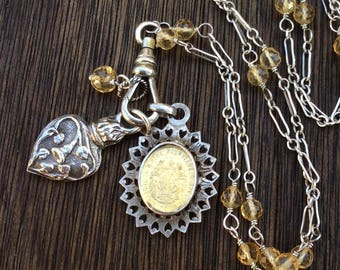 Antique French Silver Medals Charm Necklace, Citrine Gemstone Chain