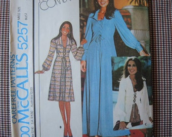 vintage 1970s sewing pattern McCalls 5257 misses dress or top Marlo's Corner size 8
