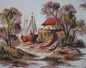 Vintage 1940s barkcloth cotton landscape fishing boats trees farm 45 inches wide