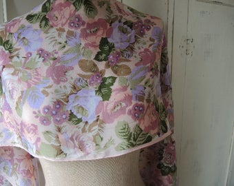 Vintage scarf silk pink floral flowers 11 x 58 inches