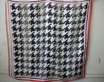 Vintage 1990s polyester scarf sheer pixeled houndstooth plaid 20 x 20 inches