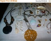 Destash vintage jewelry lot, craft lot, altered assemblage, repurposing necklaces pins pendants