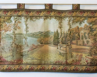Italian Tapestry -- Florence Italy -- Hardware Included - Romantic Lakeside Landscape - Garden Terrace - Made in Italy