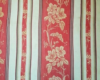 Gorgeous Remnant of Antique French Striped Cotton Linen Ticking Fabric-Red,Cream and Black-Florals & Papillons / Butterflies