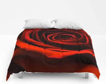 Simply A Red Rose, Comforter, Bedspread, Bedding, Bedroom Decor, Photography, Floral Bedding, Queen Comforter