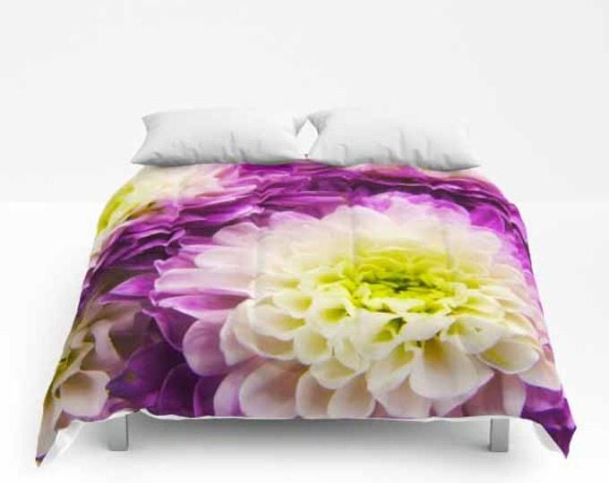 Purple & White Mums, Comforter, Bedspread, Bedding, Bedroom Decor, Photography, Floral Bedding, Queen Comforter, Flower Photography