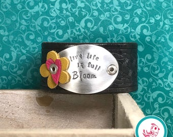 Live Life In Full Bloom Leather Chick Cuff