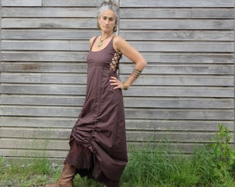Fantasy dress ~ Maxi corset dress ~ Goddess dress ~  Bridesmaid dress ~ Elfn dress ~ Felt edged dress