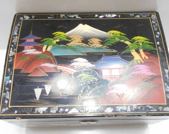 Vintage Oriental Musical Jewelry Box (22) Mother Of Pearl, Japan, Gorgeous!