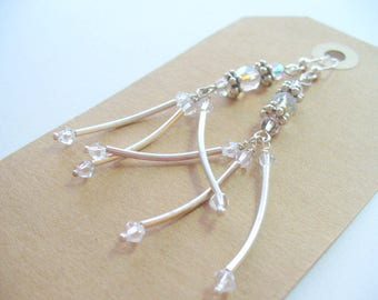 Clear Crystal Long Dangle Earrings, Clear Glass Beads, Fashion Earrings, Sterling Silver Jewelry, Womens Jewelry, Handmade, Gift for Her