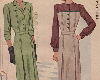 RARE 1940s 40s Day Dress Vintage Sewing Pattern [McCall 6146] Size 14, Bust 32, Complete