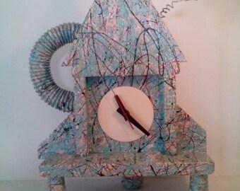 Memphis Style Splatter Paint  Clock by Richard Birkett