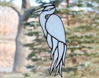 Stained Glass White Egret Bird,  Stained Glass Panel,  Shorebirds, Glass Art, Wildlife Art, Beach Decor, Bird Lovers Gift