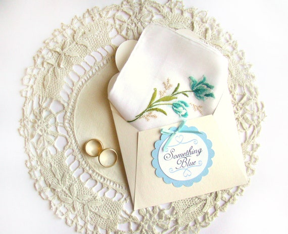 Wedding Gifts For Bride Something Blue : Something Blue, Bridal Handkerchief, Vintage Hanky, Gift for Bride ...