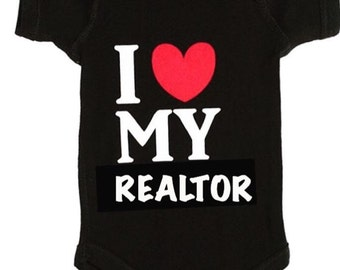 Personalized Baby Gift, Daddy Realtor, Mommy Realtor, I love my realtor onesie, baby to a realtor, realtor gift, realtor baby shower,