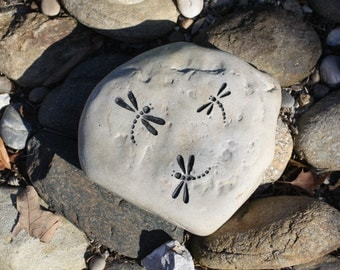 Dragonflies Engraved Stone