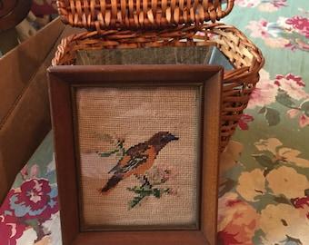 Antique Framed Needlepoint Bird