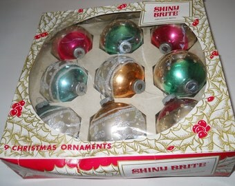 Box of Nine Shiny Brite American Made Max Eckardt Christmas Ornaments In Original Box