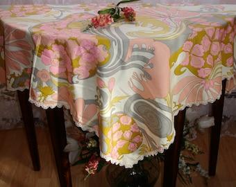 Tablecloth, Table topper, Table cover, Retro design, Vintage kitchen tablecloth, Retro kitchen decor, Square, 45x45, 1960s