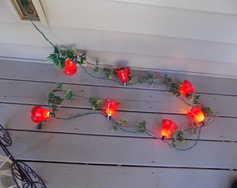 Vintage string of seven Christmas Bell Lights - holiday decor - old Christmas lights