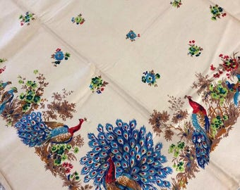 Vlisco table cloth peacock pattern