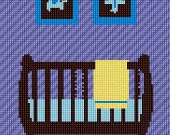 Needlepoint Kit or Canvas: Baby Boy Crib