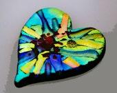 Dichroic Heart Tile, Heart Stone, Handmade Heart Tile, Pocket Heart, Fused Dichroic Heart Tile, Medation Stone, Dichroic Cabochon