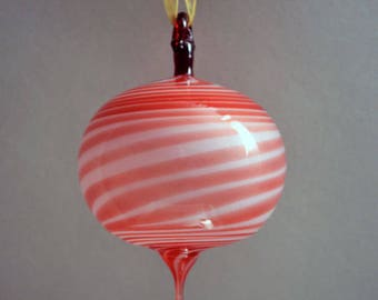 Hand Blown Ornament, Globe Ornament, Round Ornament, Red and White Ornament, Striped Ornament