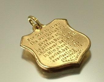 Vintage antique Edwardian 1900s, Art Nouveau Christian religious, shield gilt metal, Bible verse, Biblical charm pendant - jewellery jewelry