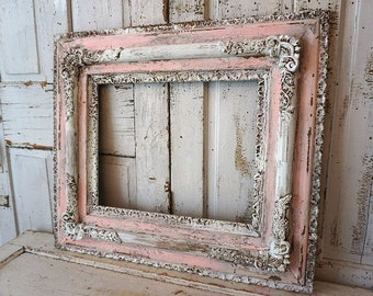 Ornate wood picture frame large antique wall hanging thick wide gesso wooden shabby chic aged frame home decor anita spero design