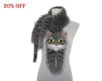 Sale 20% off , Knitted Scarf , Custom Pet Portrait From Your Photo , animal scarf , Fuzzy Soft Scarf , tabby cat ,  knit cat scarf