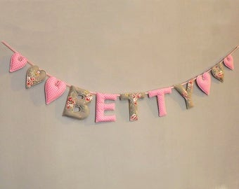 Baby Name Garland, Nursery Bunting Banner, Fabric Letters, Grey Pink Floral