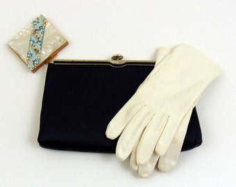 Vintage Purse   1960s   Navy Blue Satin Evening Bag by Andé
