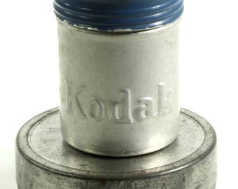 Eastman Kodak Company Little Metal Vintage Film Canister - Blue and Silver