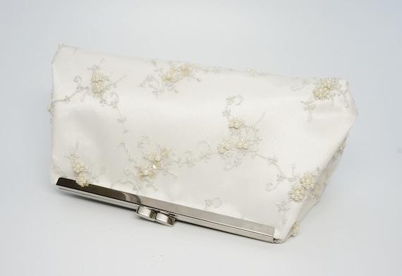 Ivory Pearl Beaded Bridal Wedding Clutch Purse - Gorgeous Vintage Style Bridesmaid/Evening/Formal Handbag - Crossbody Option - Ready to Ship