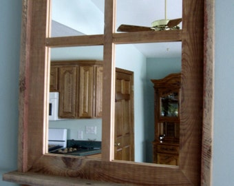 Barnwood Window Mirror 4 Panes & Shelf