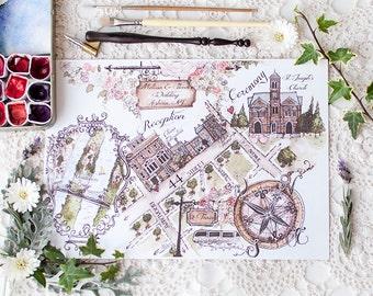 Watercolor Wedding map DIGITAL FILE
