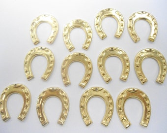 12 Goldplated Horseshoe Charms