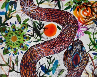 Snake Painting Snake Art Snake Nature Flowers Animal Art Animal Wall Art Animal Fine Art Home Decor Snake Watercolor Original Art Painting