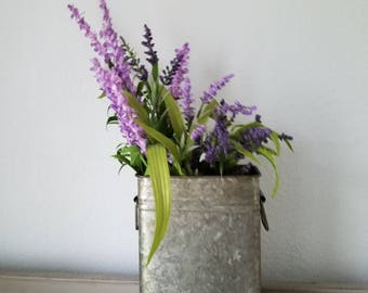 Tall Galvanized Metal Bucket Planter Farmhouse