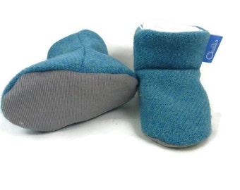 Baby Boy Booties / Tweed Booties / New Baby / Baby Shower / Challis Booties / Pram Shoes / Crib Shoes / Stay On Booties / Fleece Baby Boots
