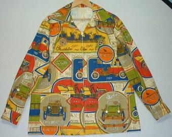 1970s Jacket / L / 42 / Pop Art / Car / Automobile / Psychedelic / Hippie / Vintage Car / 70s Jacket / Windbreaker / Mod / Rocker / Psych