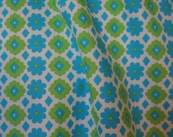 Blue Daisy Japanese Cotton Fabric by Kinkame