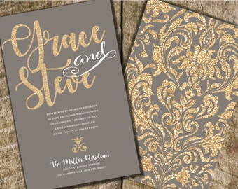 Gold and Gray Wedding Invitation, Gray and Coral Wedding Invitation, Gold Glitter Wedding Invitation, Gray Wedding Invitation,  Gold Damask