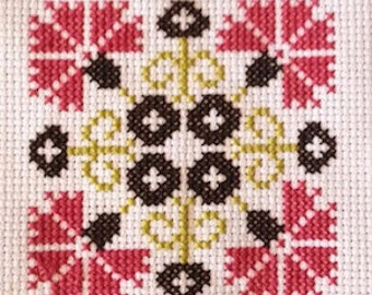 Scandinavian inspired traditional graphic cross stitch pattern