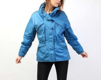 Vintage EMMEGI Electric Blue Ski Parka Jacket Size 36