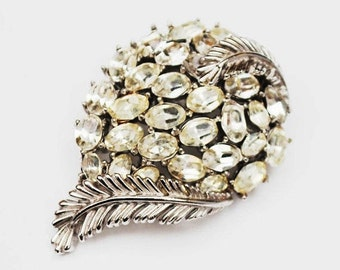Crown Trifari Brooch - Clear Rhinestone - silver Leaf - Mid Century  Pin
