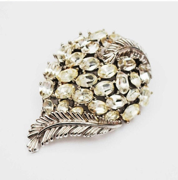 Crown Trifari Brooch - Clear Rhinestone - silver Leaf - Mid Century  Pin