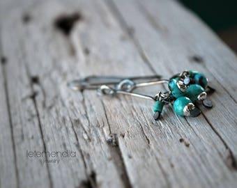 Turquoise on Stick Earrings Cluster Drops Sterling Silver Boho Dangle Earrings Handmade Boho Letemendia Jewelry
